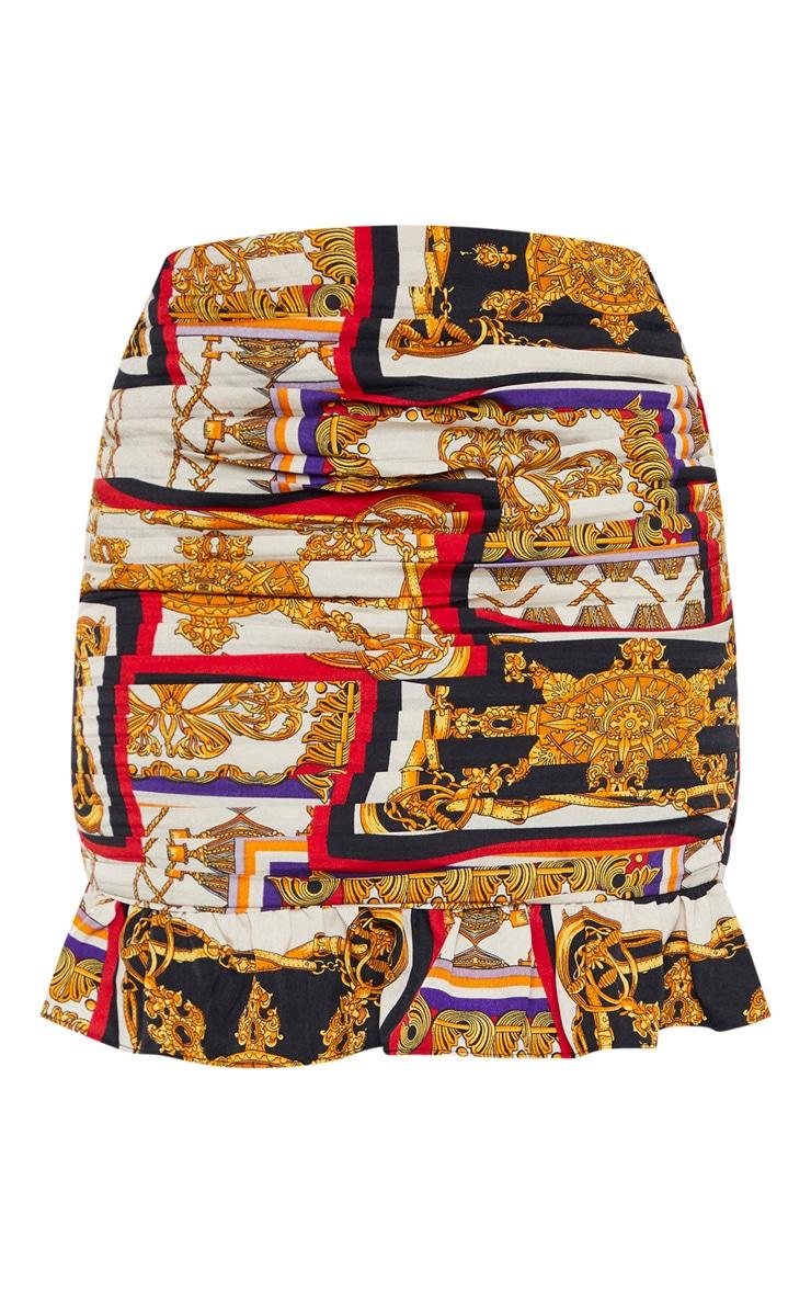 Multi Chain Print Pleated Mini Skirt 3