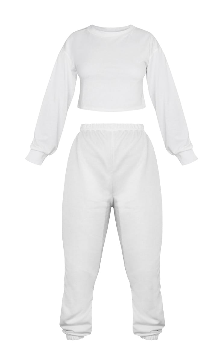 Petite White Cropped Sweat and Jogger Set 5