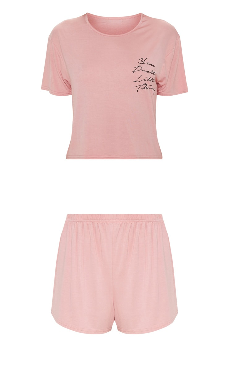 PRETTYLITTLETHING Rose Short Pj Set 3