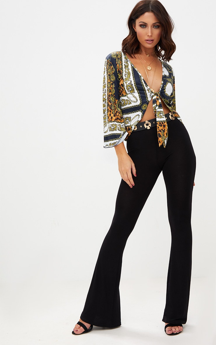 Navy Chain Print Tie Front Blouse  4