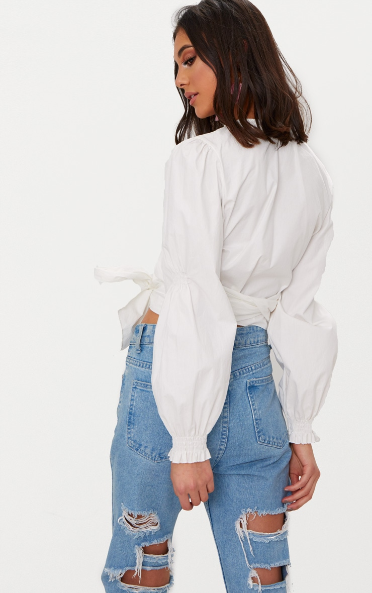 White Wrap Front Puff Shoulder Crop Shirt  2
