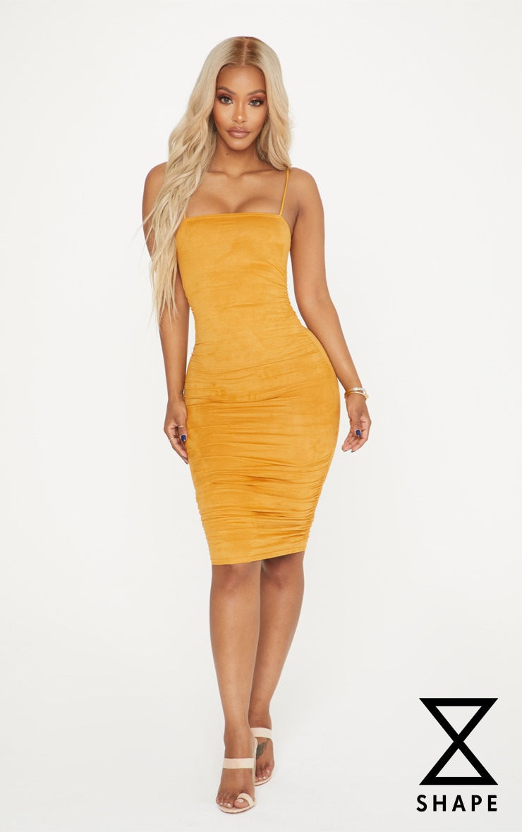 Shape Mustard Faux Suede Ruched Midi Dress
