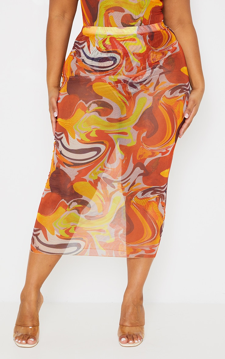 Plus Orange Marble Print Mesh Midi Skirt 2