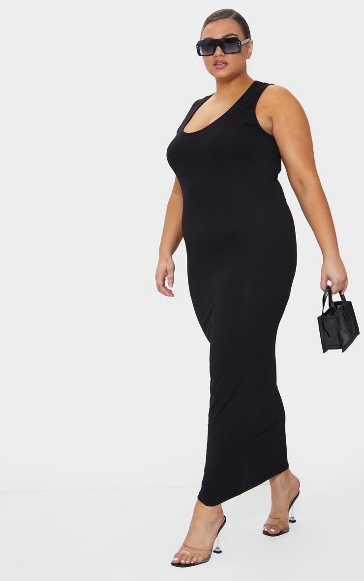 Plus Basic Black Maxi Dress 3