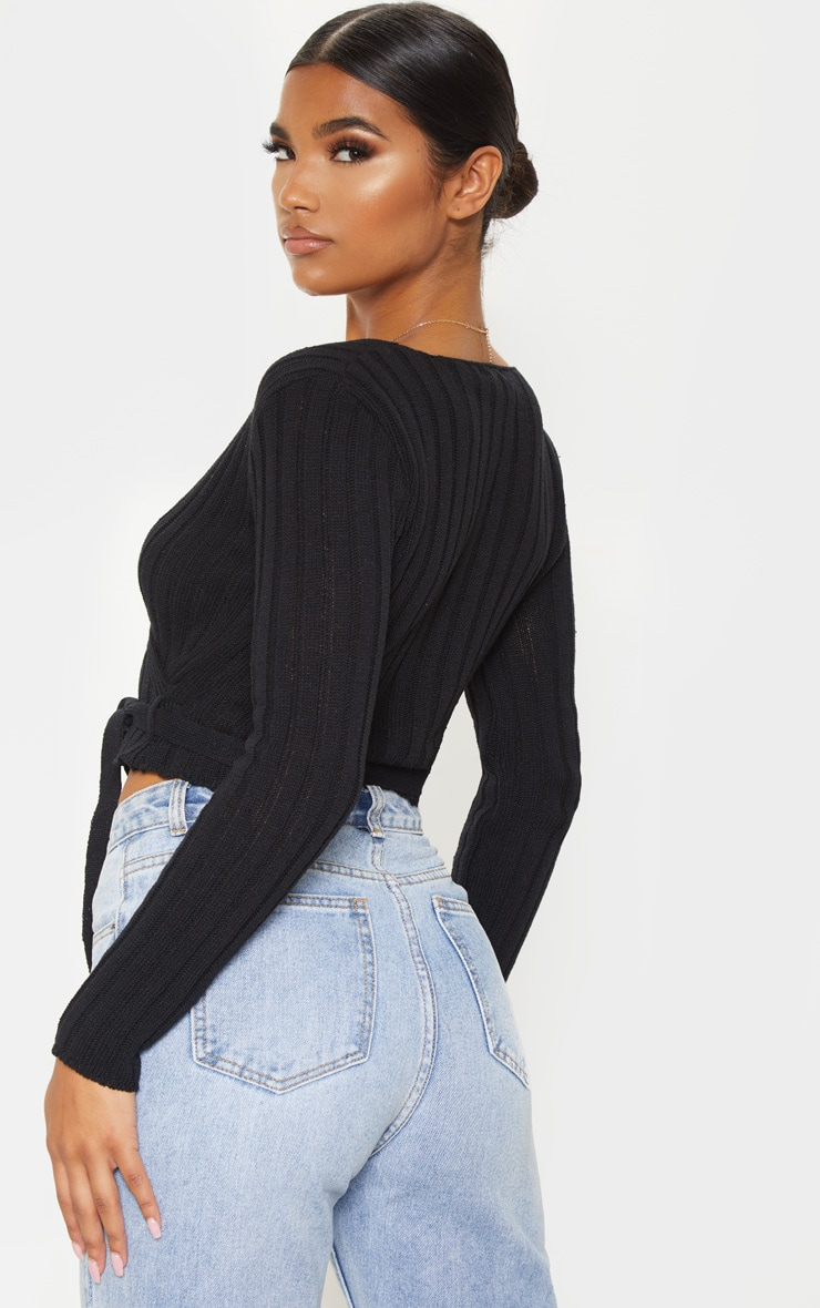 Black Ribbed Knit Wrap Front Top  2