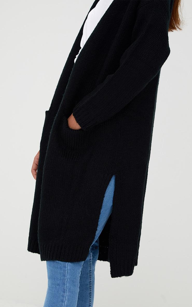 Black Super Chunky Long Line Cardigan 4