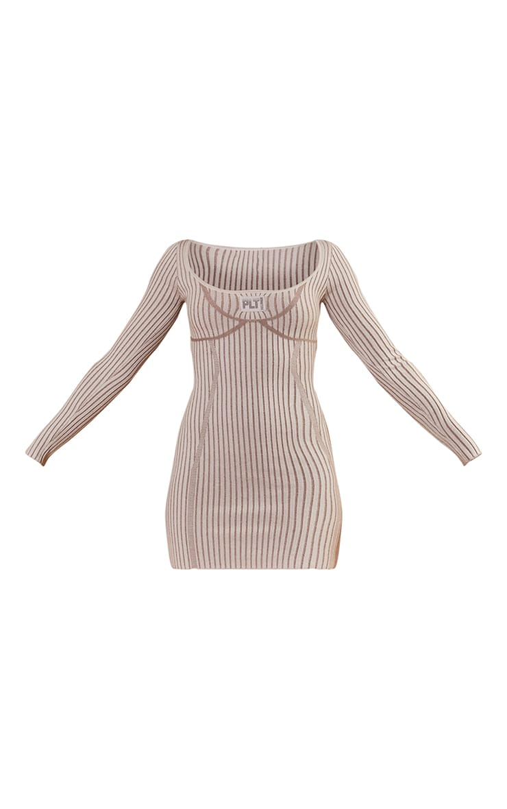 PRETTYLITTLETHING Stone Bust Detail Bodycon Knitted Dress 5