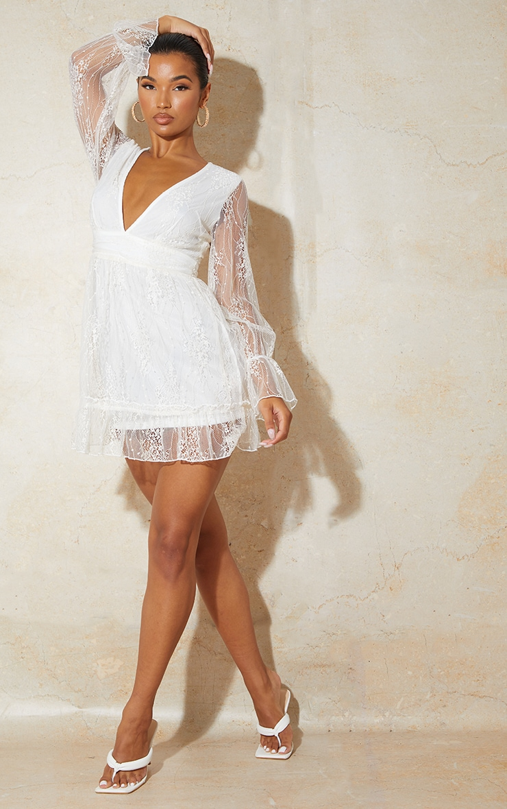 White Embroidered Chiffon Plunge Long Sleeve Shift Dress 3
