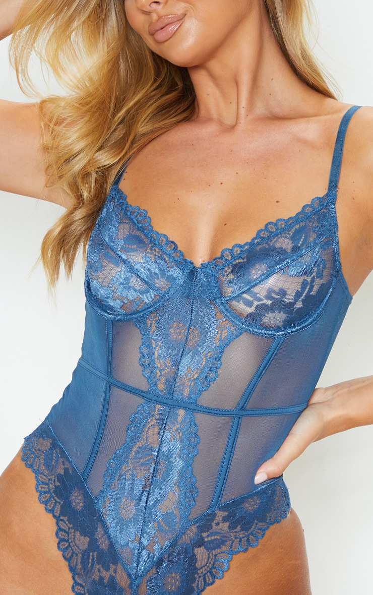 Petrol Blue Underwired Cage Detail Lace Body 6