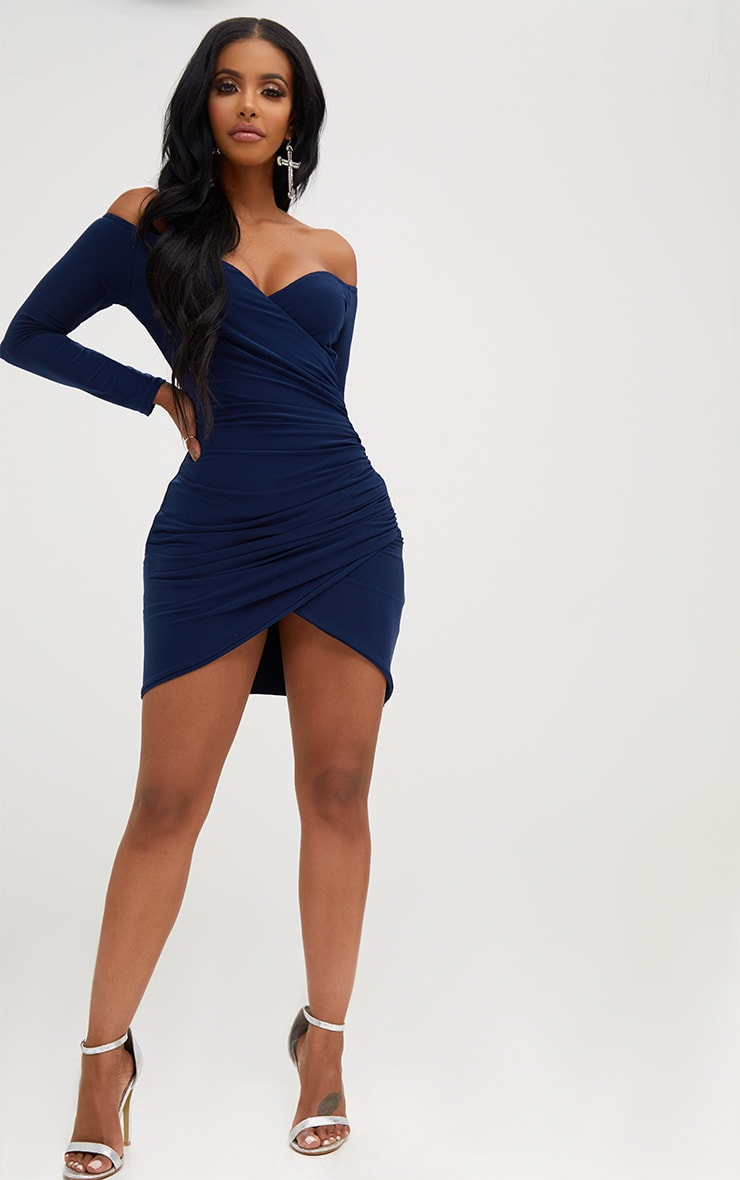 Shape Navy Ruched Bardot Bodycon Dress 4