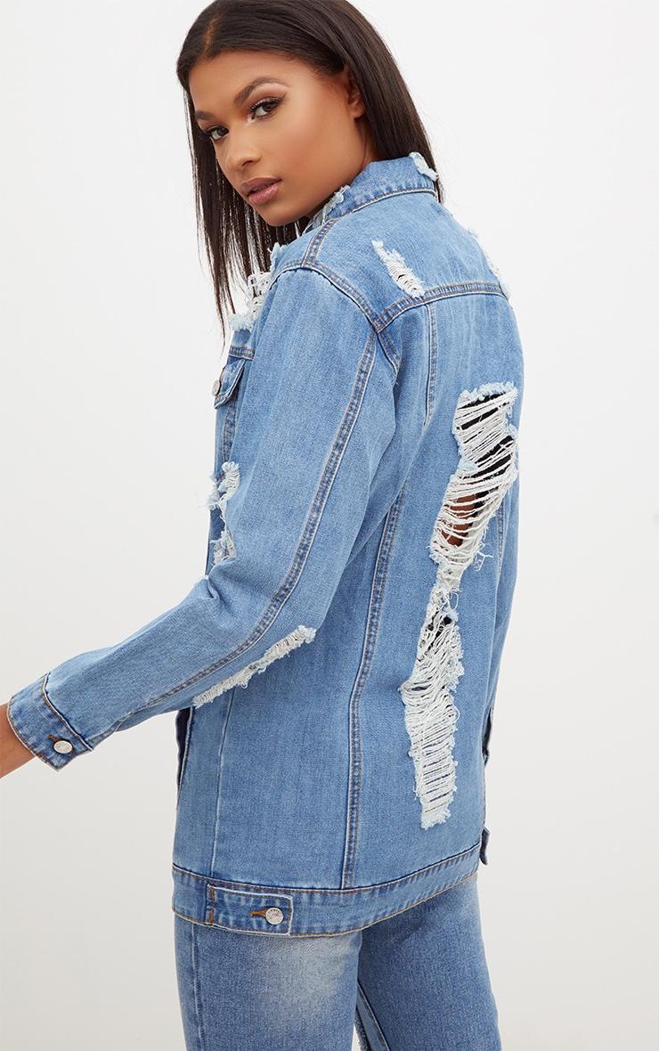Mid Wash Denim Distressed Longline Jacket  2