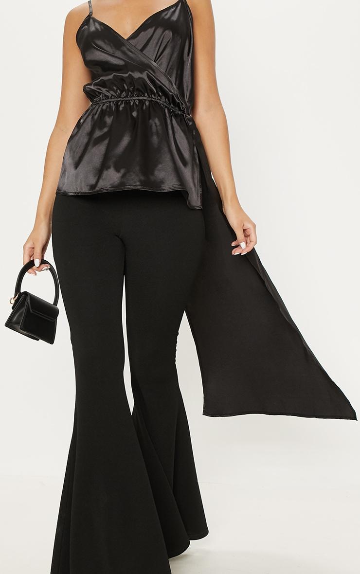 Black Satin Strappy Tie Waist Cami 5