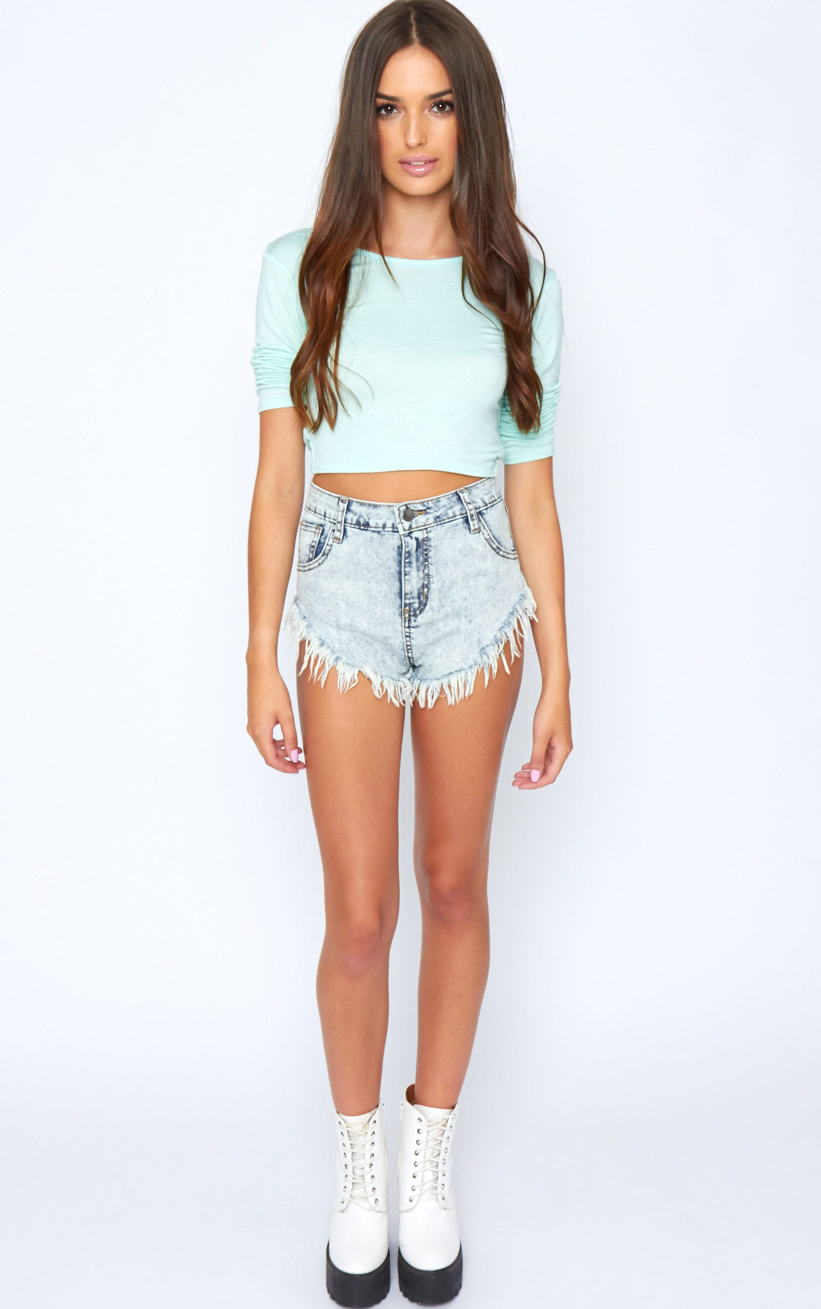 Kate Mint Cross Back Crop Top  4