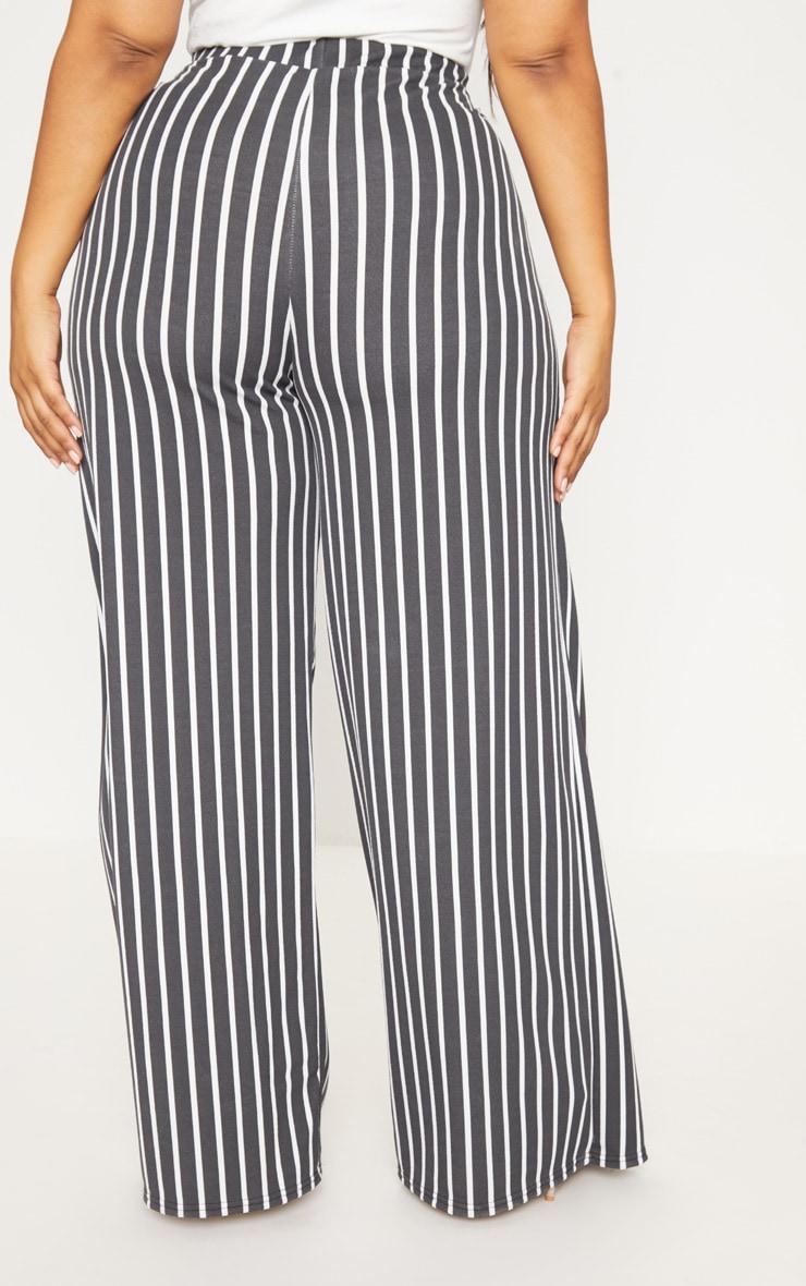 Plus Black Striped Wrap Detail Extreme Wide Leg Pants 4