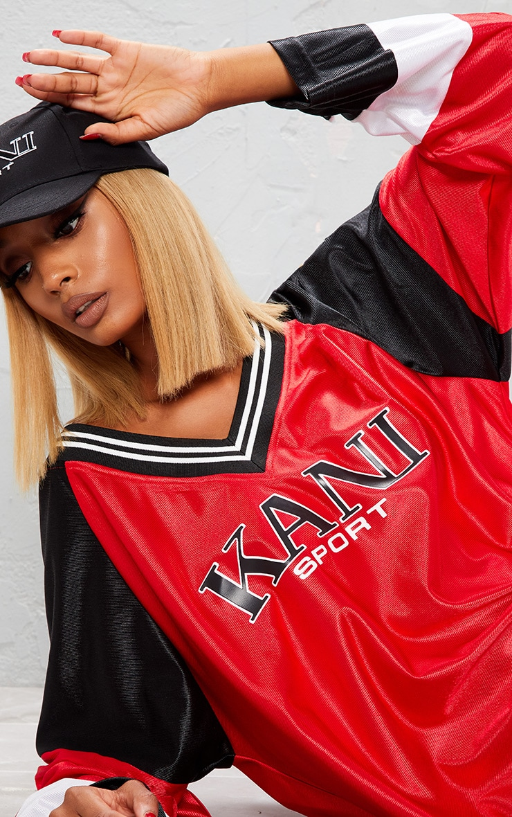 KARL KANI Red Printed Oversized Baseball Dress 7