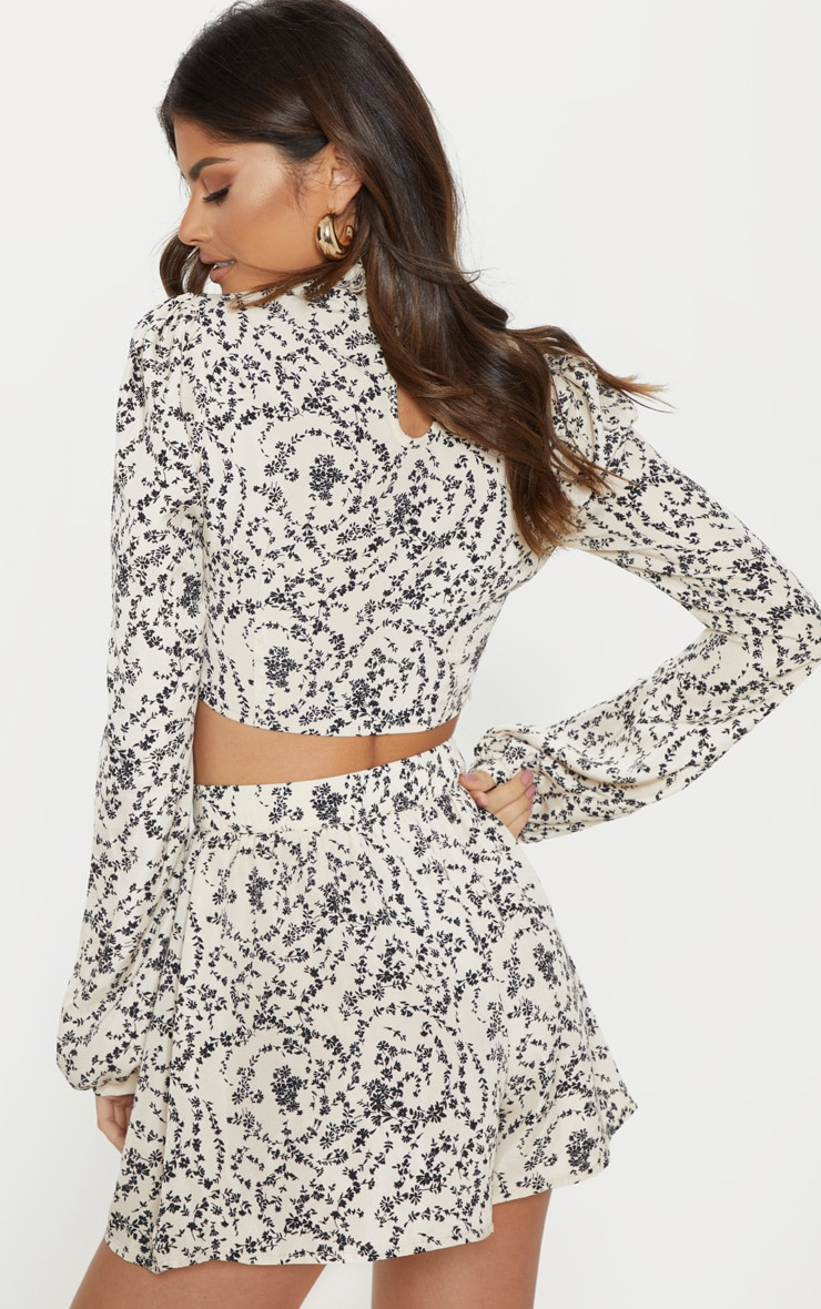 Cream Ditsy Floral Print High Ruffle Neck Blouse 2