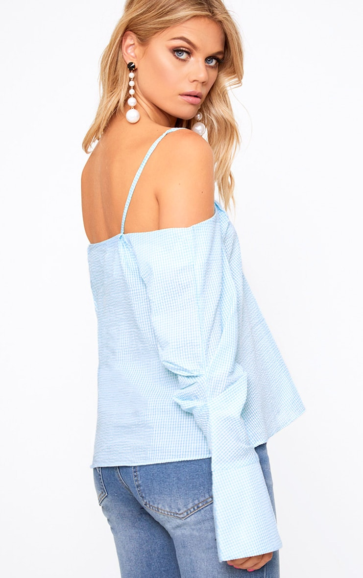 Mint Gingham Check Cold Shoulder Cuff Shirt 2