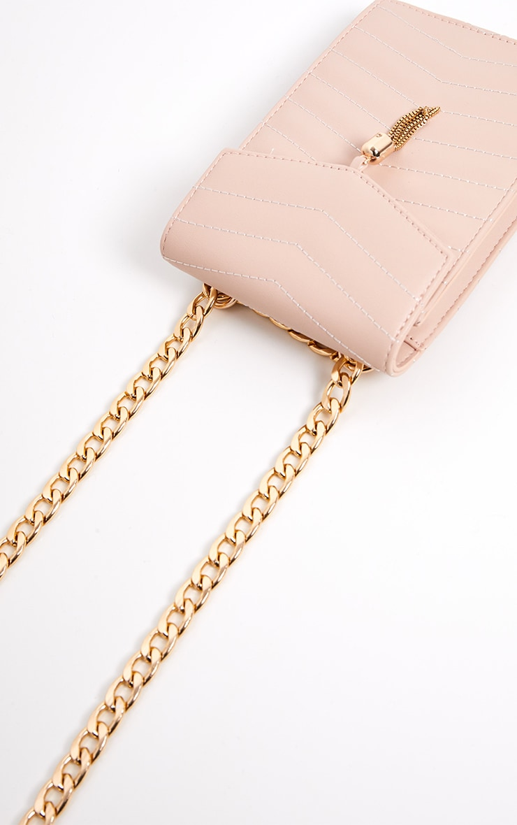 Nude Quilted Flat Pouch Chain Cross Body 2