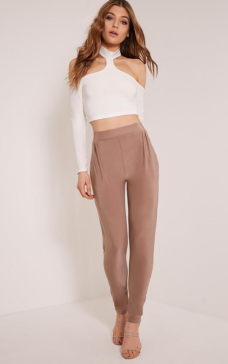 Rinda Taupe Slinky High Waisted Peg Trousers 1