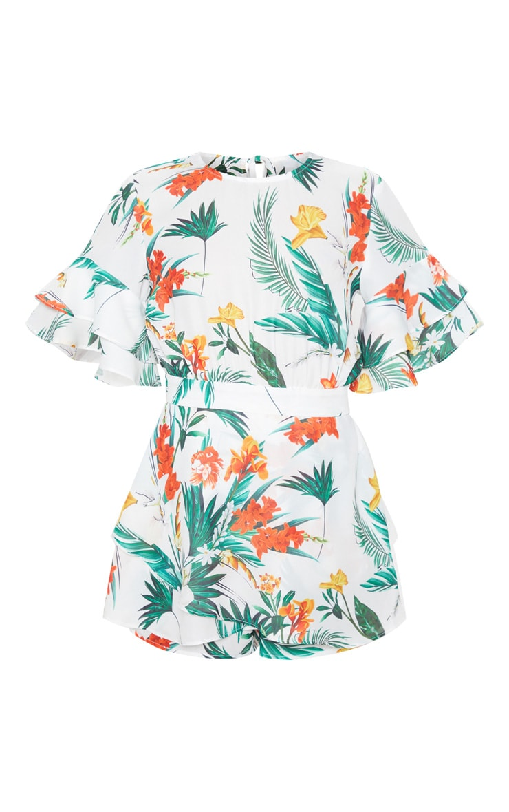White Tropical Print Frill Sleeve Tie Back Romper 3