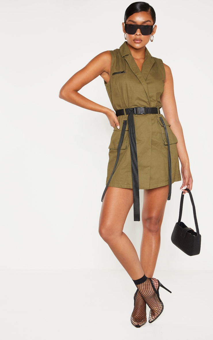 Khaki Sleeveless Utility Bodycon Dress 1