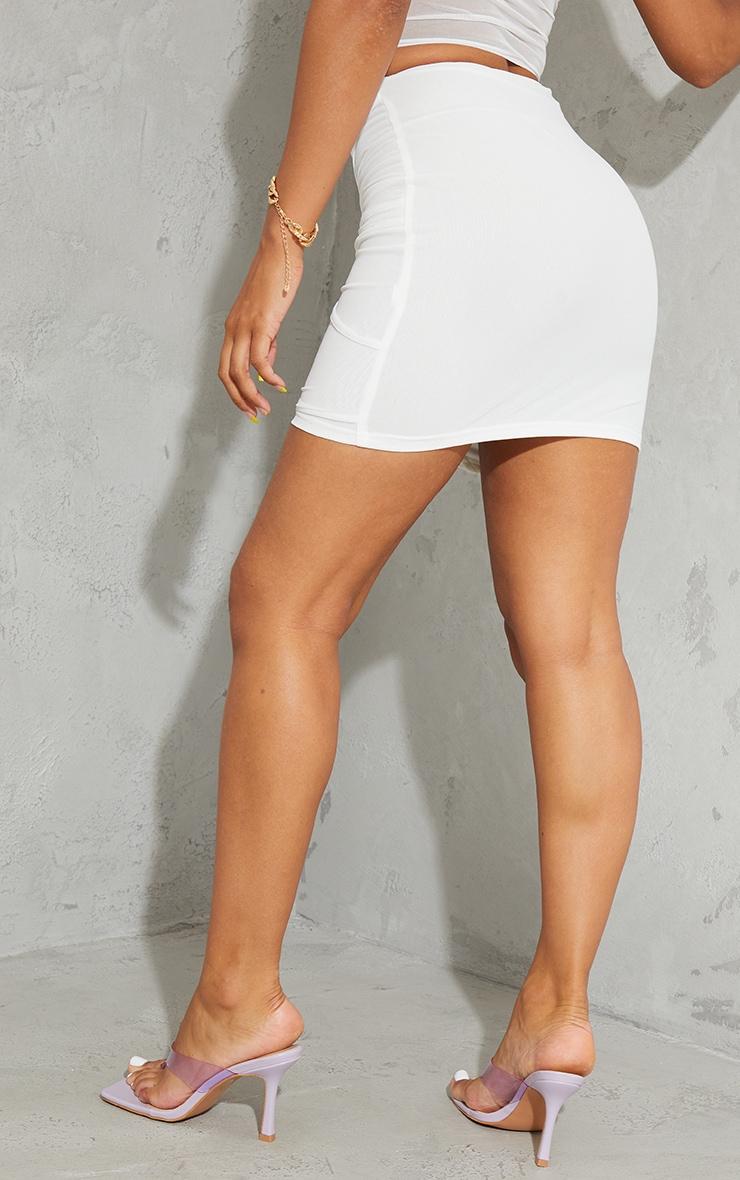 White Sheer Mesh Cut Out Mini Skirt 3