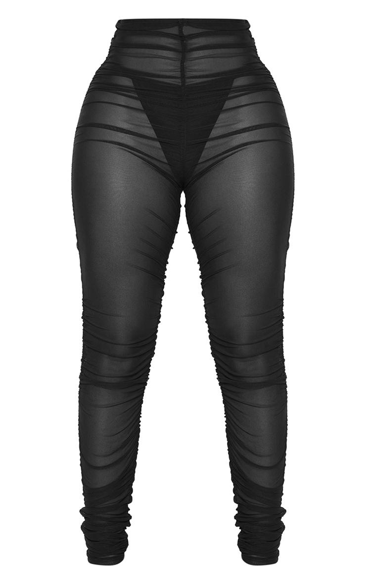 Shape Black Sheer Ruched Mesh Leggings 5