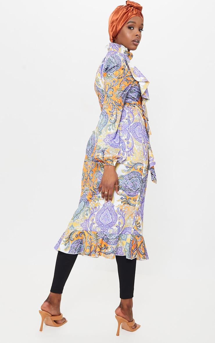 Multi Paisley Printed Frill High Neck Midi Dress 2