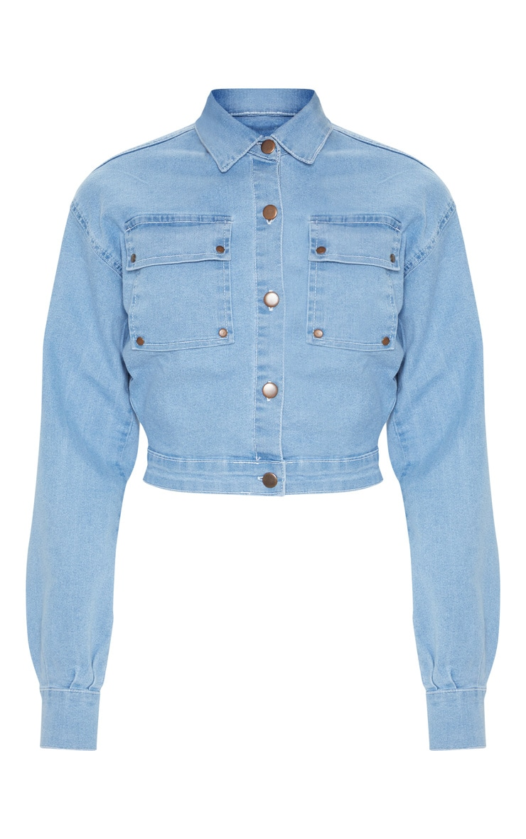 Light Wash Oversized Cropped Trucker Denim Jacket  3