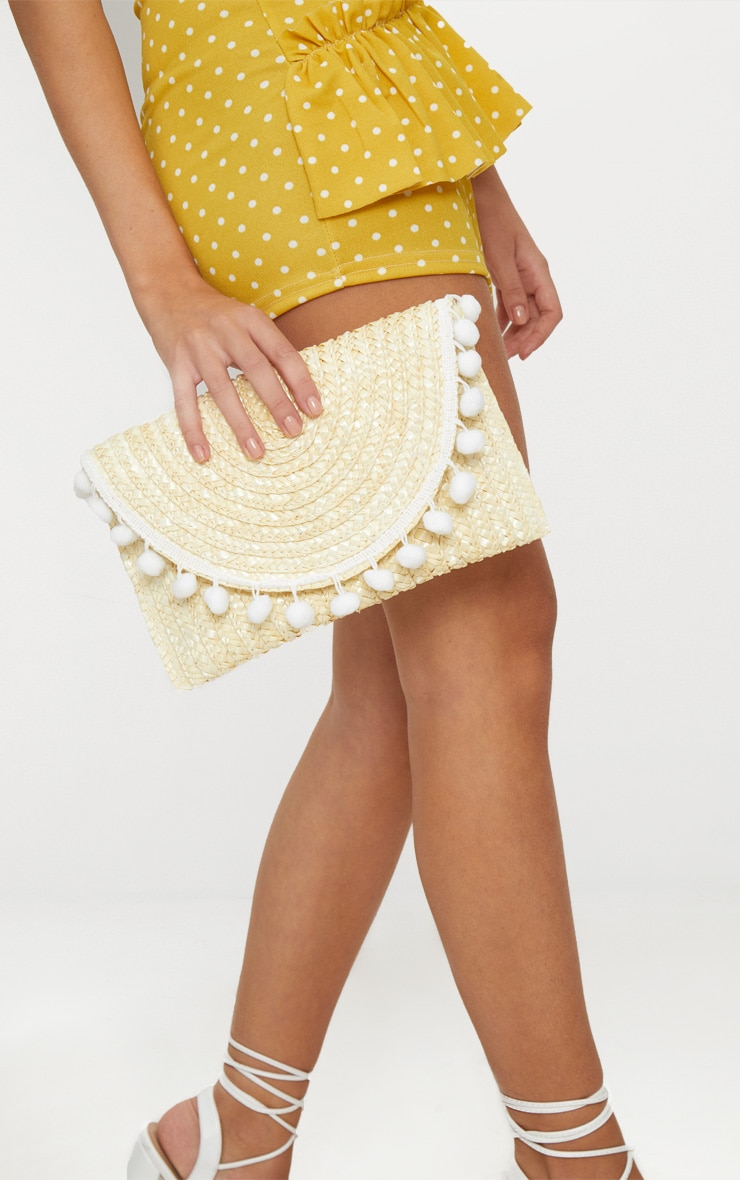 Cream Straw Pom Pom Clutch Bag 2