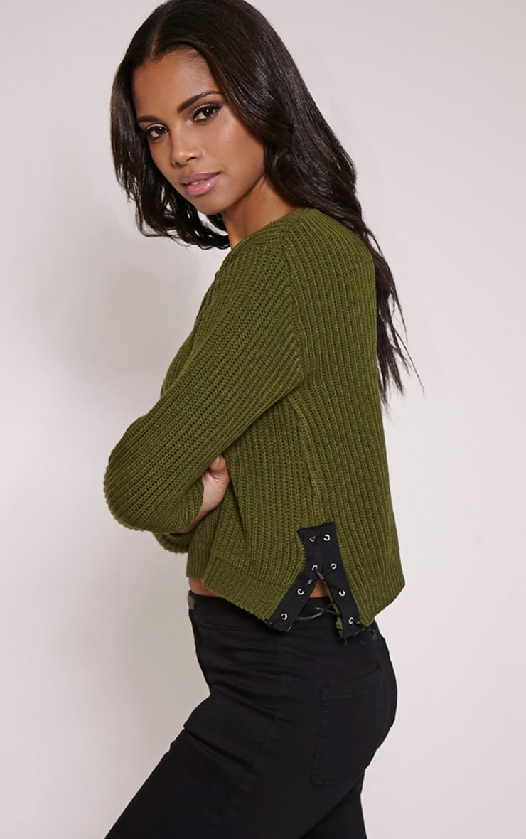 Jeni Khaki Lace Up Side Jumper 1