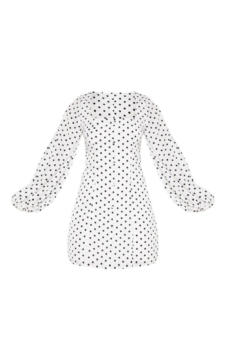 White Polka Dot Square Neck Bodycon Dress 3