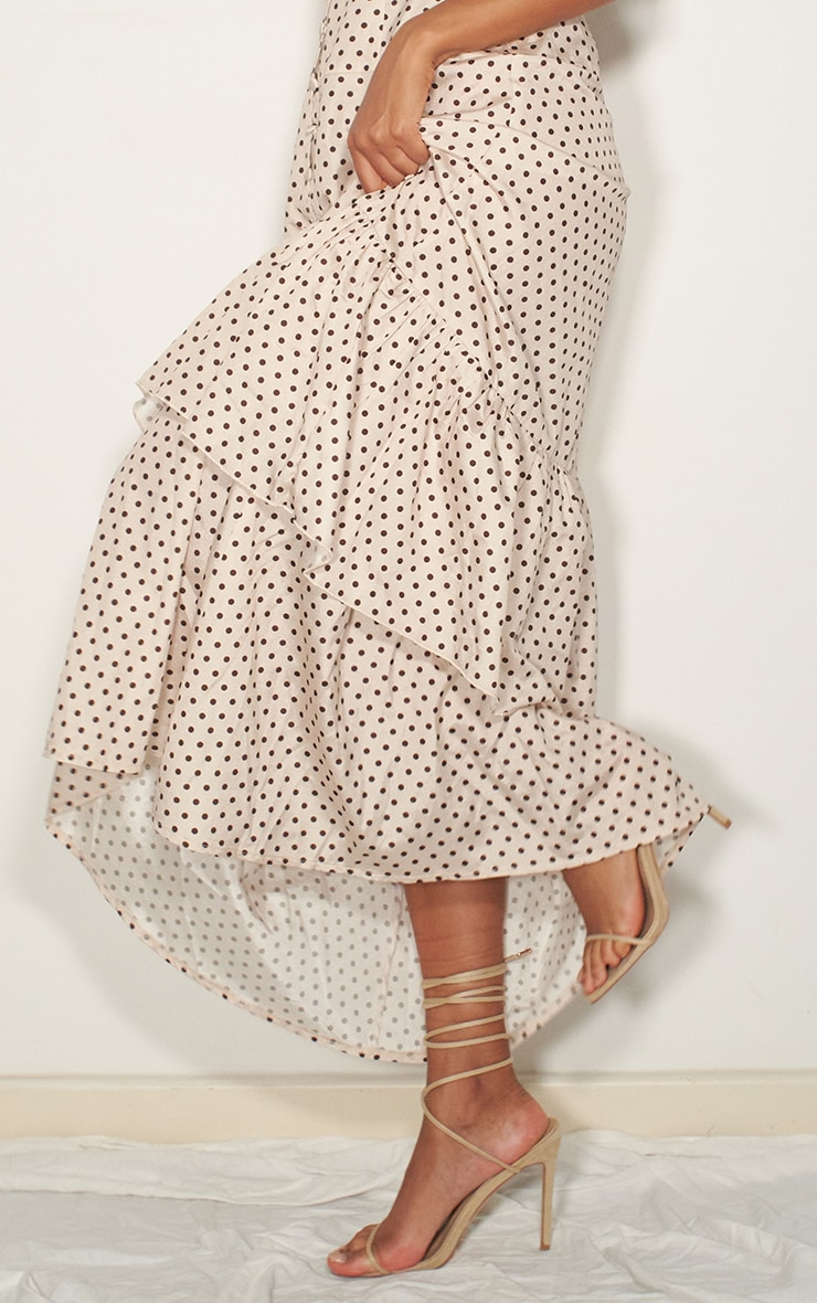 Nude Polka Dot Drop Hem Maxi Dress 4