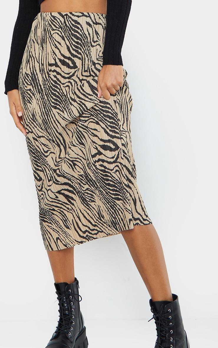 Zebra Print Plisse Printed Midi Skirt 4