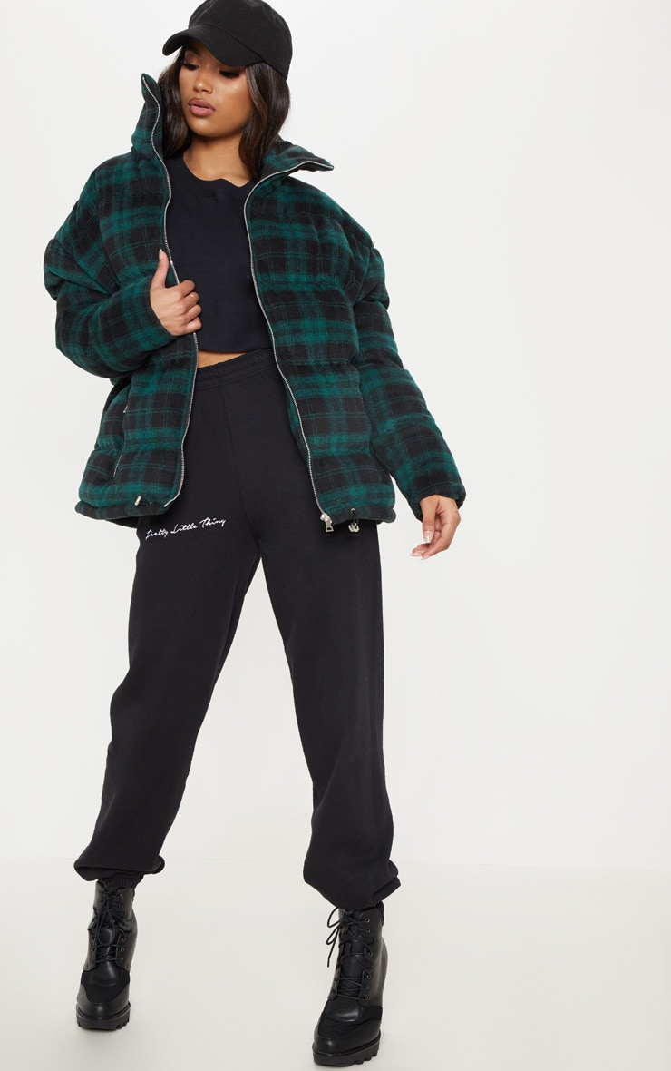 Green Oversized Checked Puffer 4