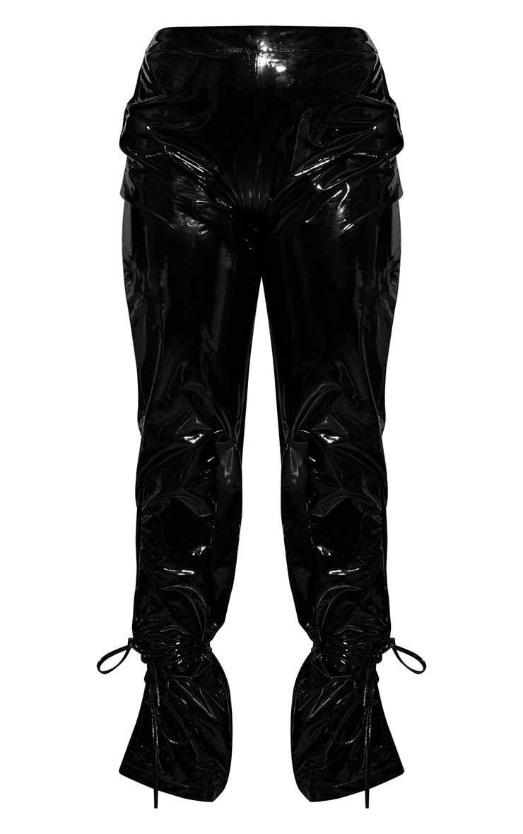 Black Vinyl Lace Up Pants 3