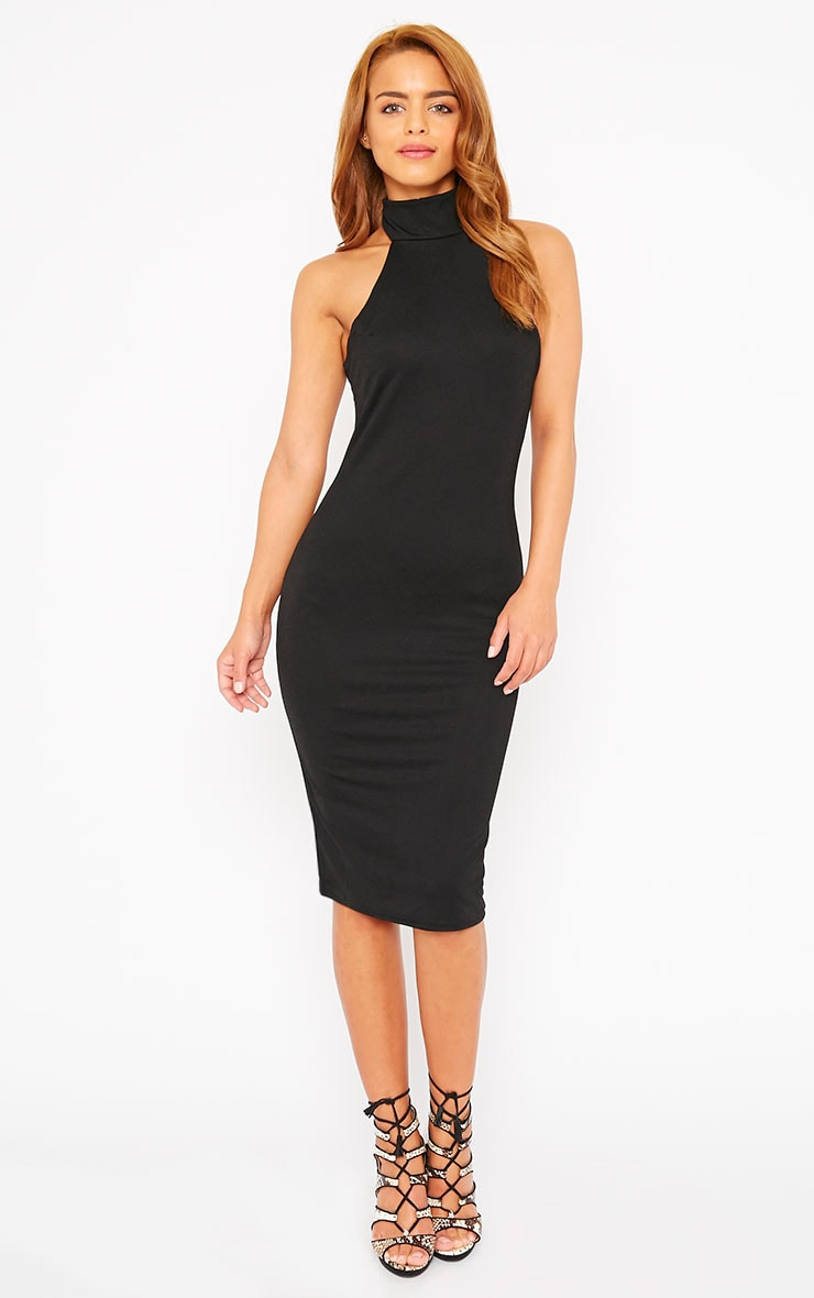 Sara Black Polo Neck Midi Dress 1