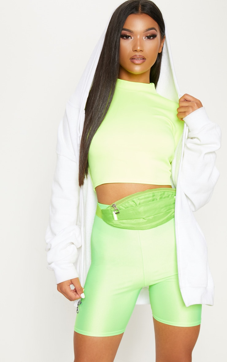 Neon Yellow High Neck Long Sleeve Crop 1