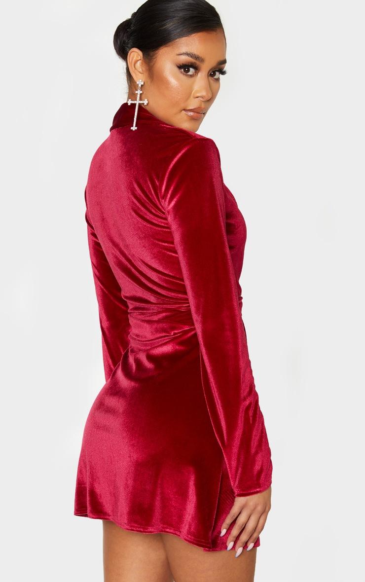Burgundy Velvet Ring Belt Blazer Style Bodycon Dress 2