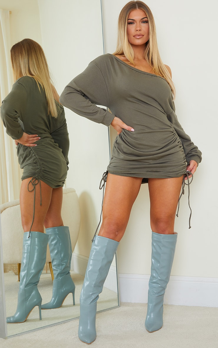 Khaki Bardot Ruched Side Sweat Jumper Dress 3