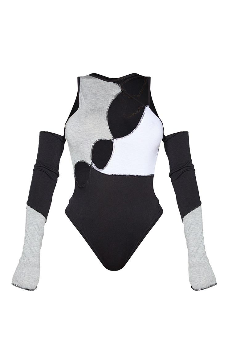 Shape Black Panel Cut Out Overlock Seam Detail Bodysuit 5