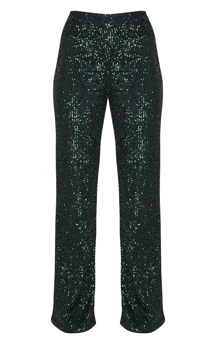 Emerald Green Sequin Wide Leg Pants 3