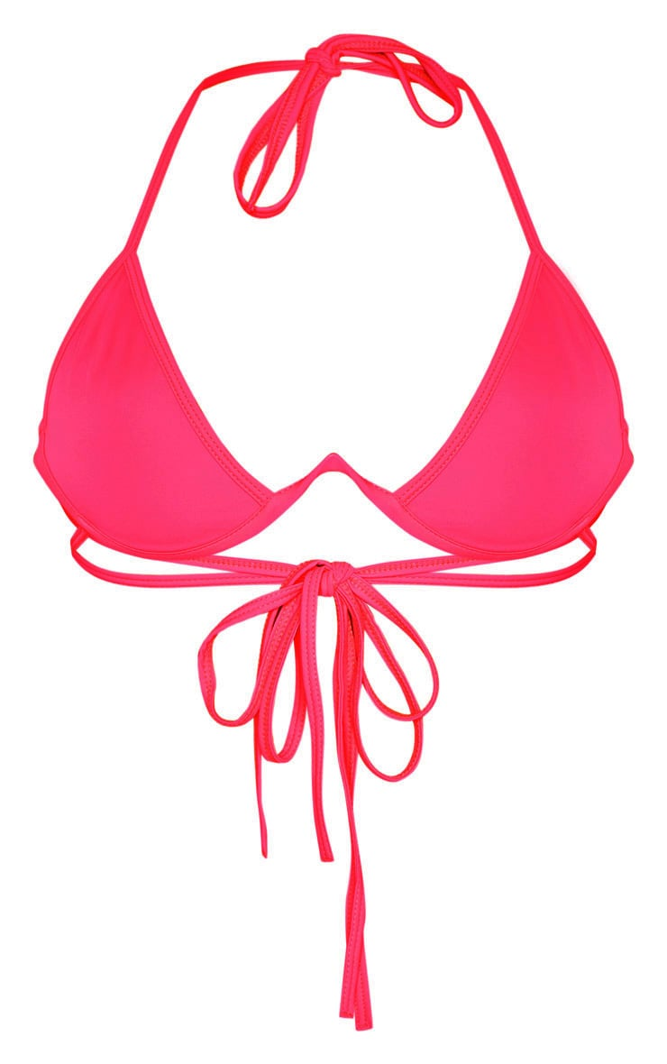 Hot Pink Cleavage Wire Detail Bikini Top 6