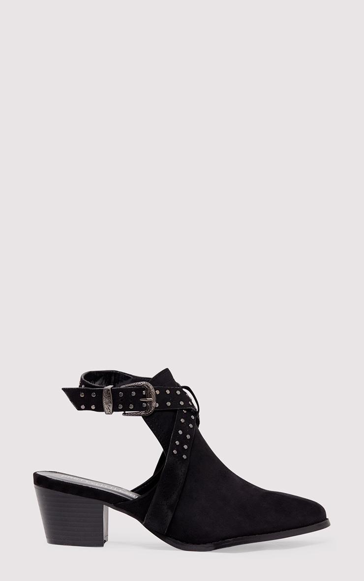 Demmia Black Open Heel Studded Western Boots 2