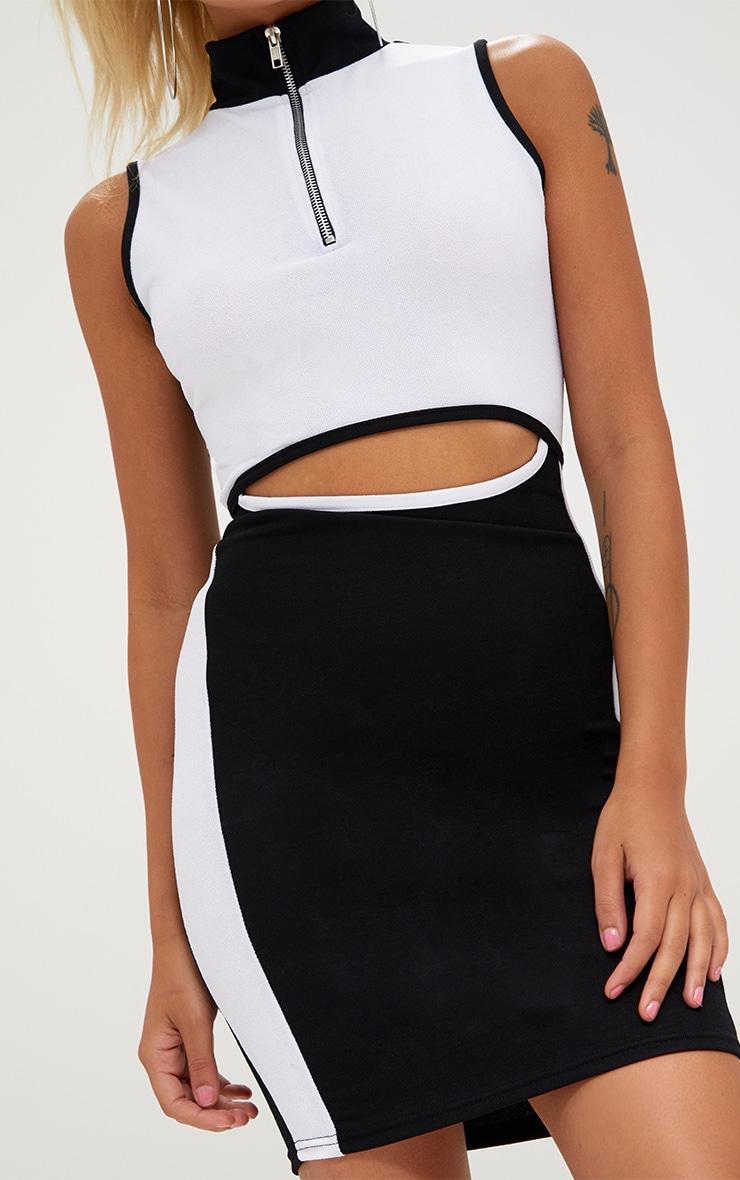 Petite Black/White Cut Out Contrast Bodycon Dress 5