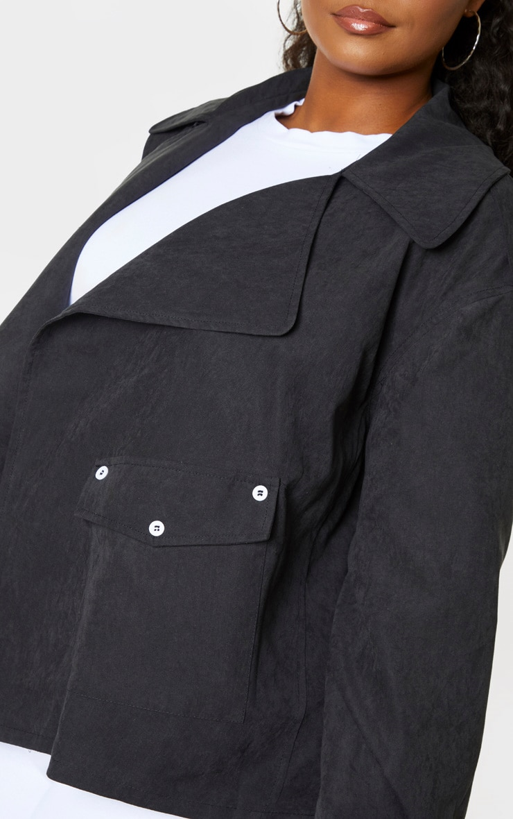 Plus Black Faux Suede Button Detailed Jacket 5