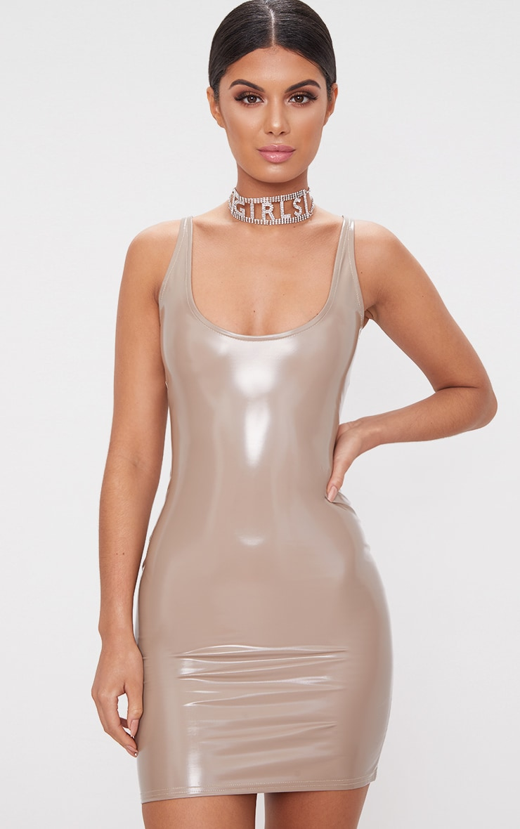 Mushroom Scoop Neck Vinyl Bodycon Dress 1