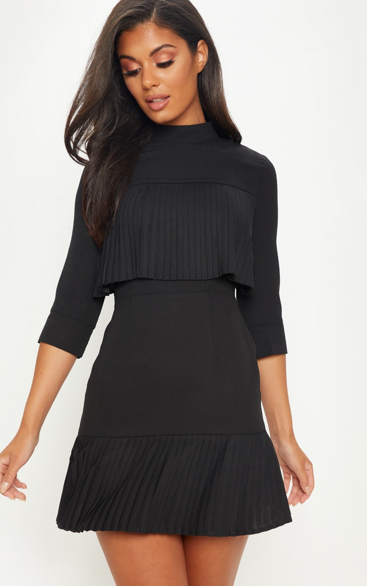 Black Pleated Detail Frill Hem Bodycon Dress 4