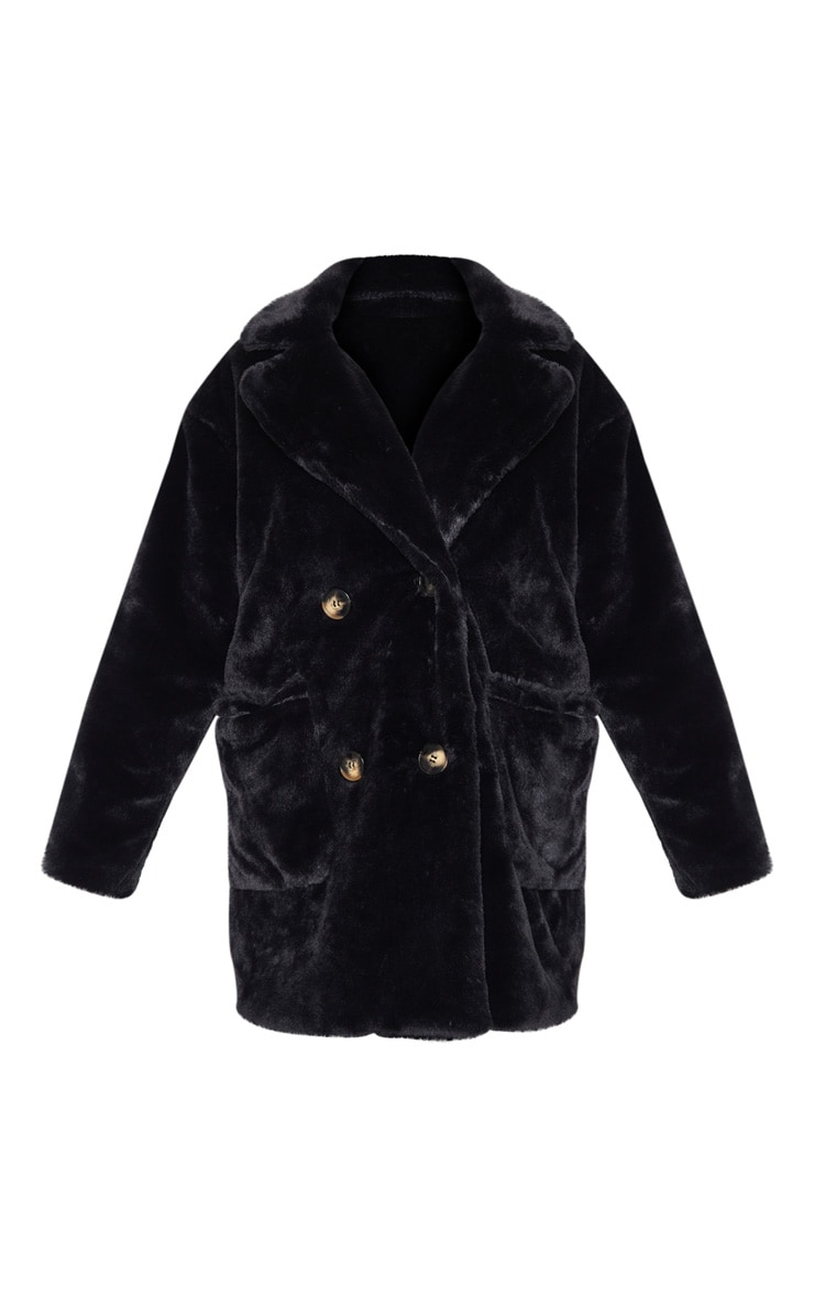 Black Faux Fur Double Breasted Button Detail Coat 3