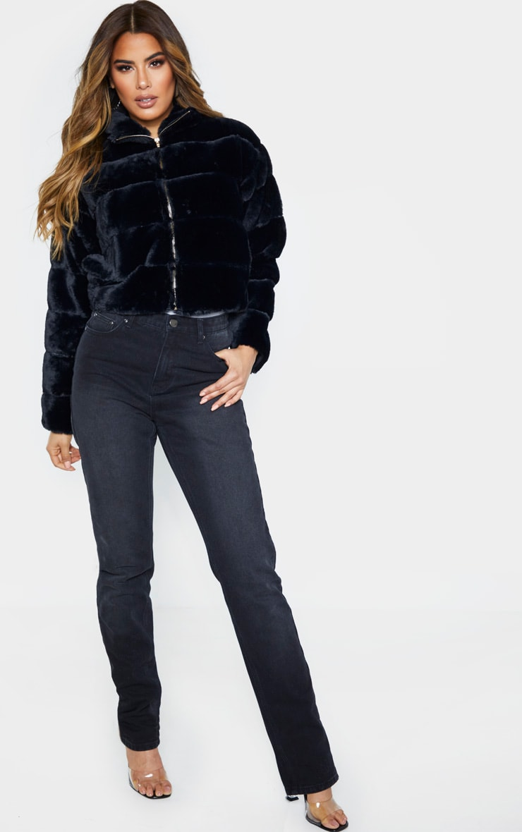 Tall Black Faux Fur Bomber Jacket 4